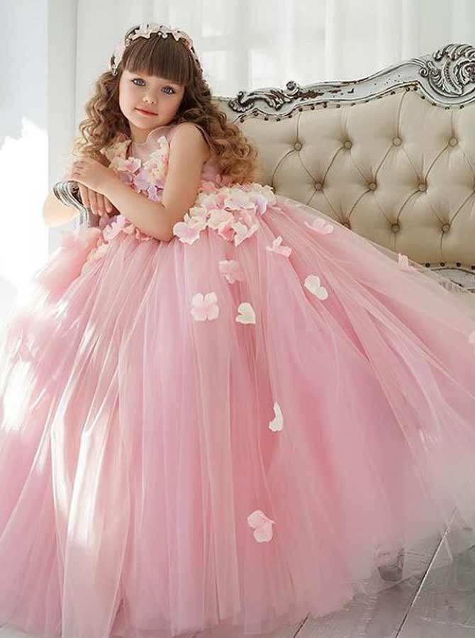 A-Line Round Neck Pink Tulle Flower Girl Dress with Flowers фото