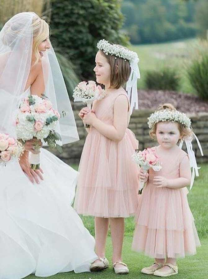 Simple-dress / A-Line Round Neck Pink Tulle Flower Girl Dress with Sash
