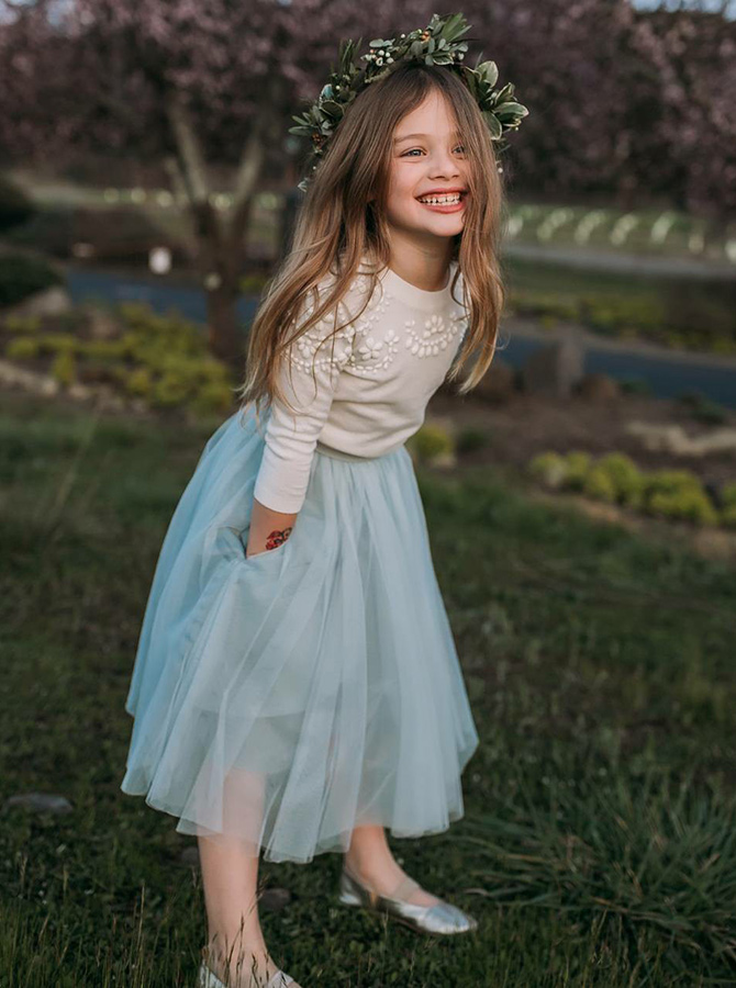 A-Line Round Neck Sage Tulle Flower Girl Dress with Pockets Appliques фото