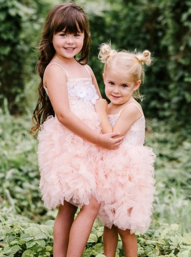 A-Line Spaghetti Straps Pink Tulle Flower Girl Dress with Lace Flowers фото
