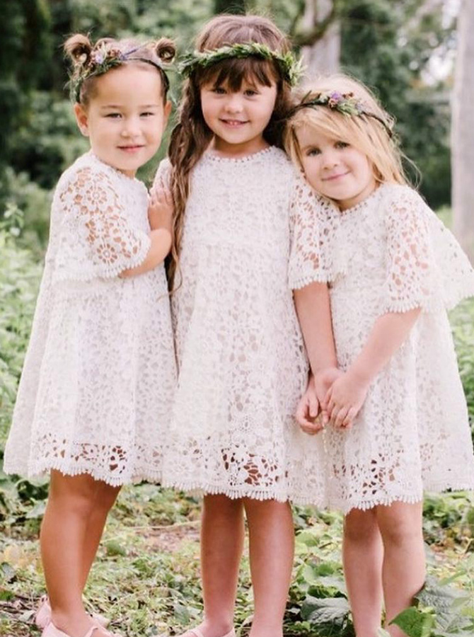 A-Line Round Neck Half Sleeves White Lace Flower Girl Dress фото
