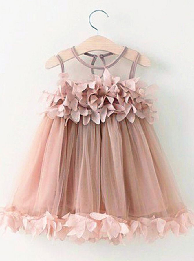 A-Line Round Neck Blush Tulle Flower Girl Dress with Flowers фото