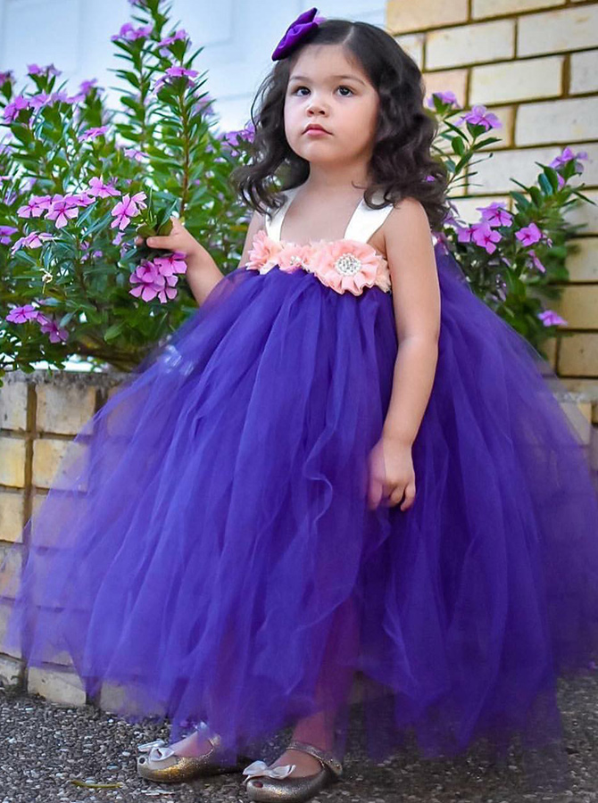 Simple-dress / Ball Gown Square Neck Purple Tulle Flower Girl Dress with Flowers