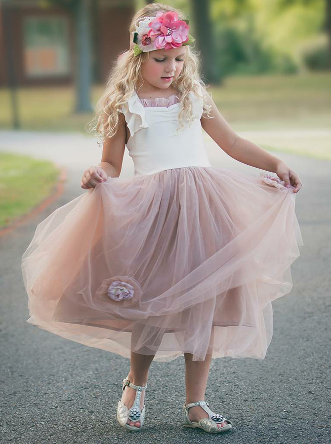 A-Line Square Neck Blush Tulle Flower Girl Dress with Flowers фото