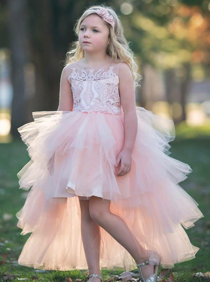 Simple-dress / A-Line Round Neck High Low Pink Tulle Flower Girl Dress with Appliques