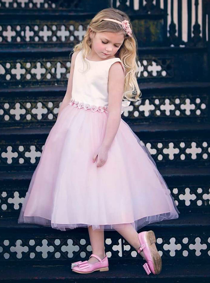 Simple-dress / A-Line Round Neck Pink Tulle Flower Girl Dress with Appliques