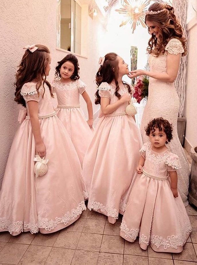 A-Line Round Neck Pink Satin Flower Girl Dress with Bowknot Appliques Beading фото