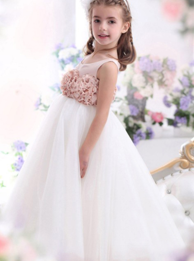Simple-dress / A-Line Round Neck White Tulle Flower Girl Dress with Flowers