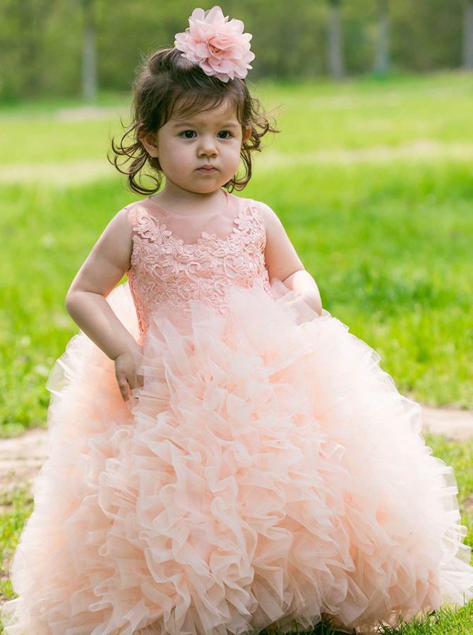 Ball Gown Pink Tulle Flower Girl Dress with Appliques фото