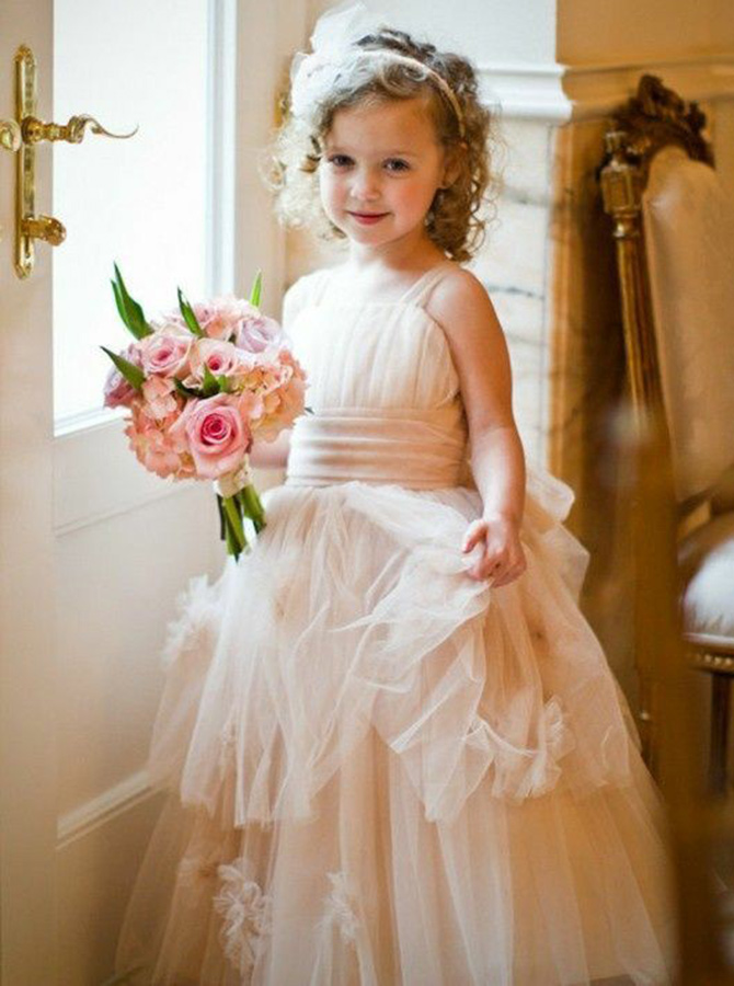 Simple-dress / A-Line Straps Floor Length Pink Tulle Flower Girl Dress with Flowers