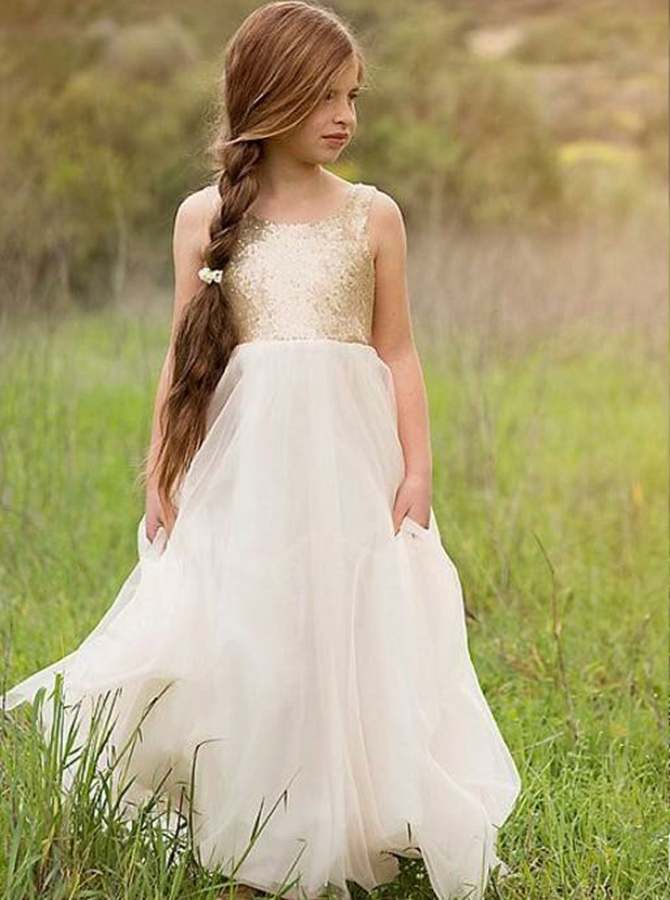 A-Line Square Neck White Tulle Flower Girl Dress with Sequined Flowers фото