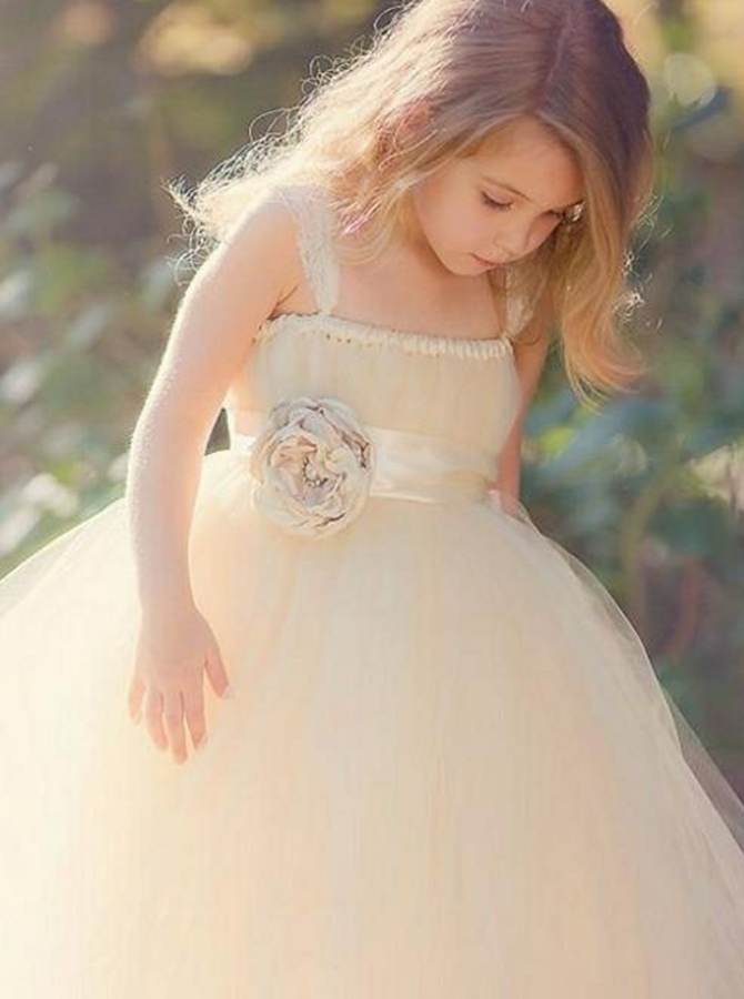 Ball Gown Square Neck Light Champagne Tulle Flower Girl Dress with Flower Sash фото
