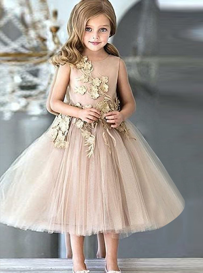 A-Line Round Neck Champagne Tulle Flower Girl Dress with Appliques