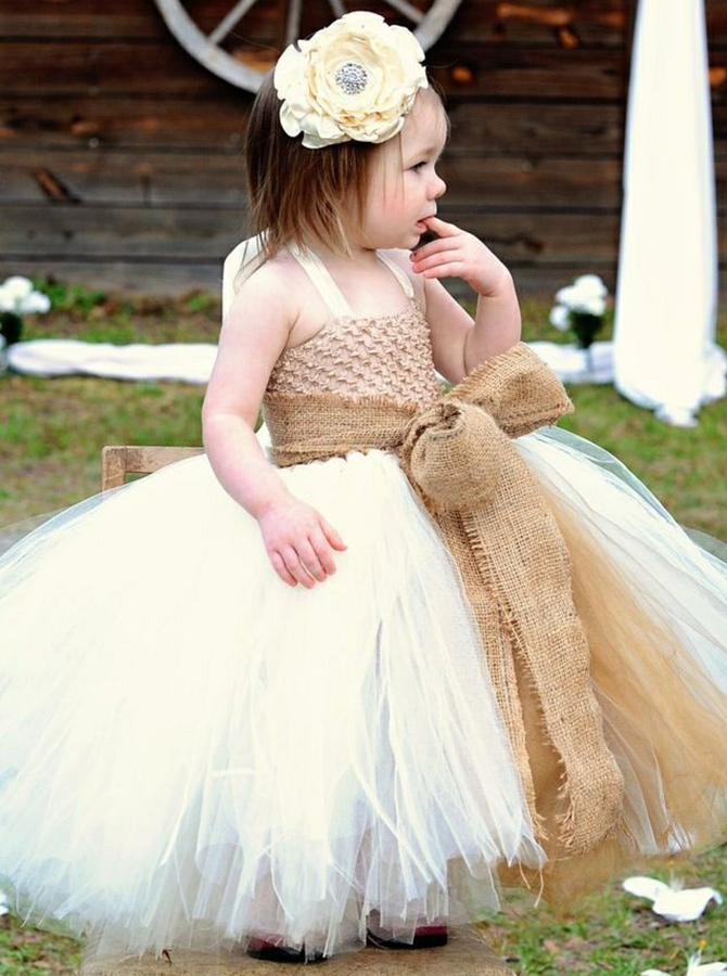 Ball Gown Halter Champagne Tulle Flower Girl Dress with Sash