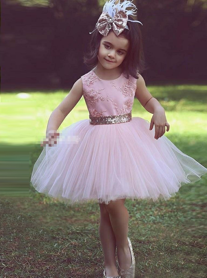 Simple-dress / A-Line Round Neck Pink Tulle Flower Girl Dress with Lace Appliques