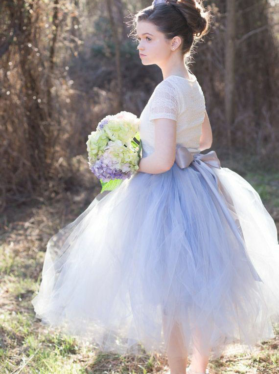 Simple-dress / A-Line Round Neck Blue Tulle Flower Girl Dress with Lace Sash