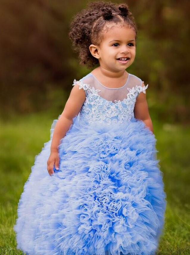 Ball Gown Round Neck Blue Tulle Flower Girl Dress with Appliques Ruffles фото