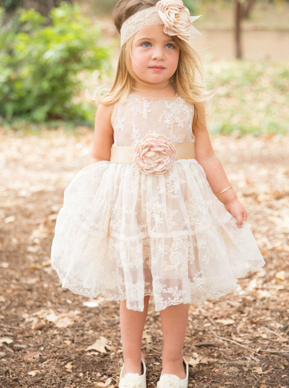 A-Line Light Champagne Lace Flower Girl Dress with Flowers