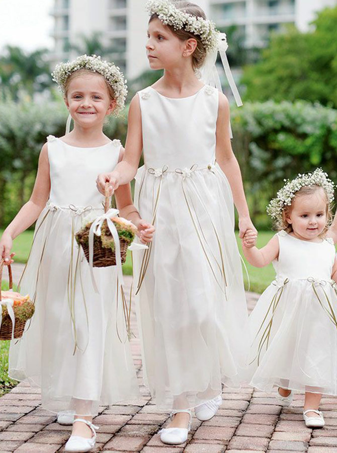 A-Line Round Neck Ankle Length Organza Flower Girl Dress with Flowers