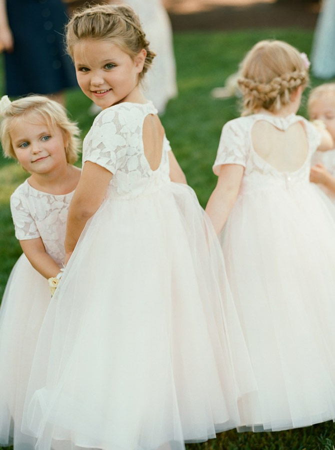 A-Line Round Neck Open Back Pearl Pink Flower Girl Dress with Lace