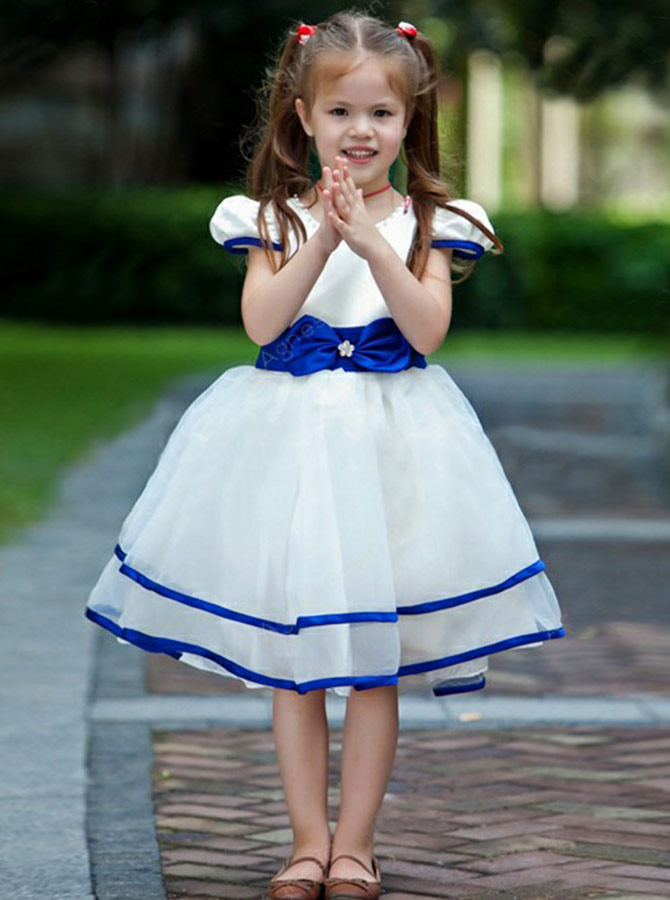 A-Line Round Neck Royal Blue Organza Flower Girl Dress with Bowknot