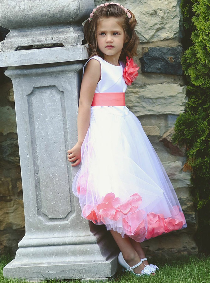 A-Line Round Neck Watermelon Flower Girl Dress with Flowers