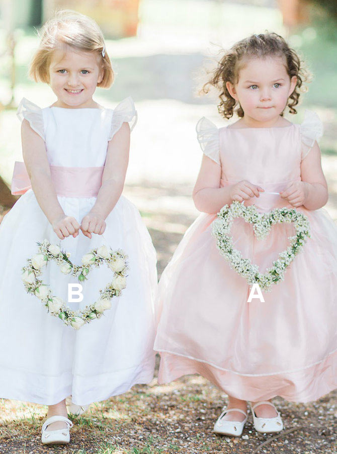 A-Line Bateau Long Pink Organza Flower Girl Dress with Sash