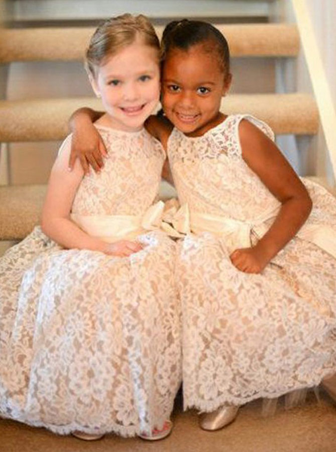 A-Line Round Neck Ivory Lace Flower Girl Dress with Sash