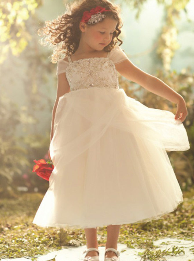 A-Line Square Neck Tea Length White Flower Girl Dress with Beading