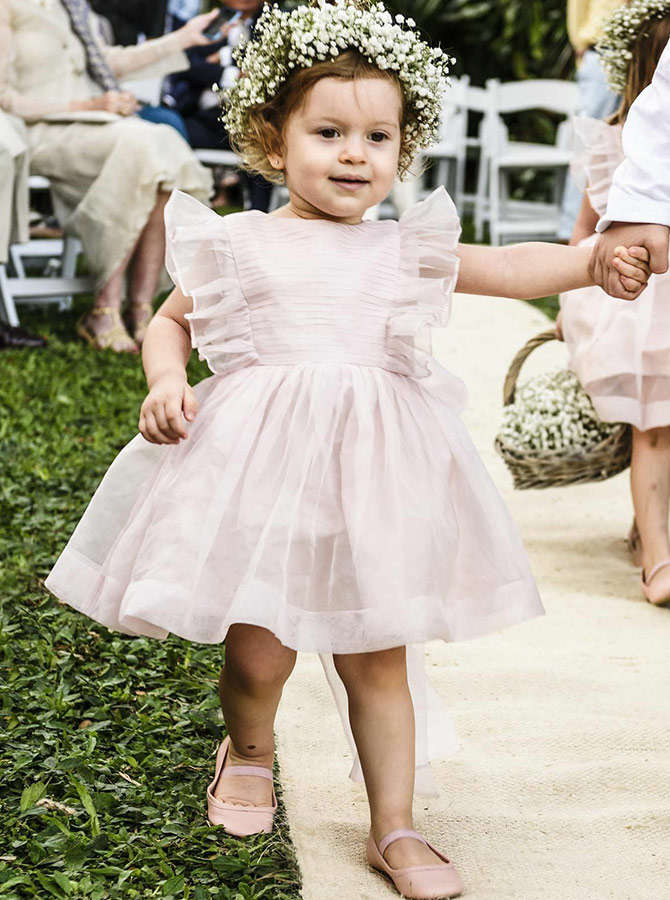 A-Line Bateau Knee Length Pink Tulle Flower Girl Dress with Flowers фото