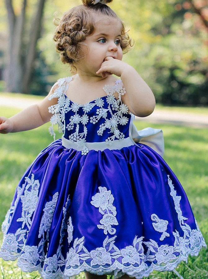 Ball Gown Spaghetti Straps Royal Blue Satin Flower Girl Dress with Appliques