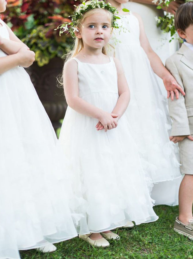 A-Line Square Neck White Long Flower Girl Dress with Appliques
