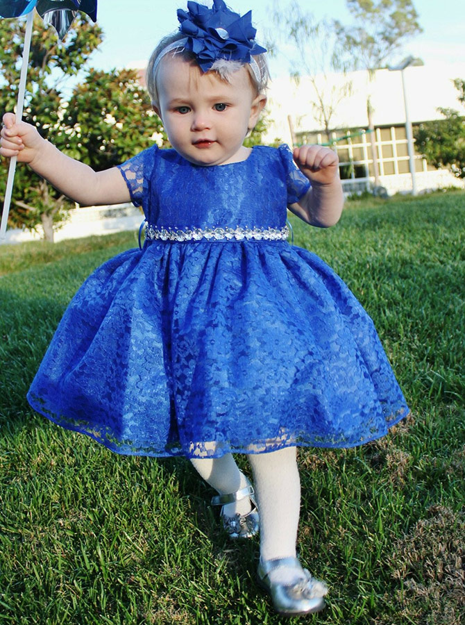 Ball Gown Round Neck Blue Lace Flower Girl Dress with Beading