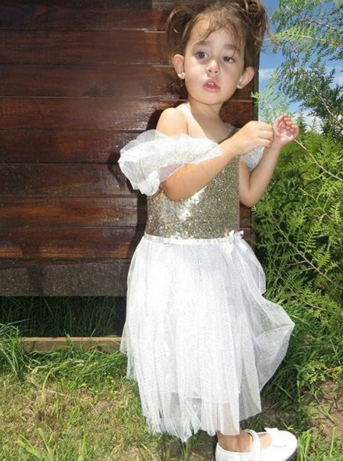A-Line Cold Shoulder Gold Sequined Flower Girl Dress with Sequins Ruffles