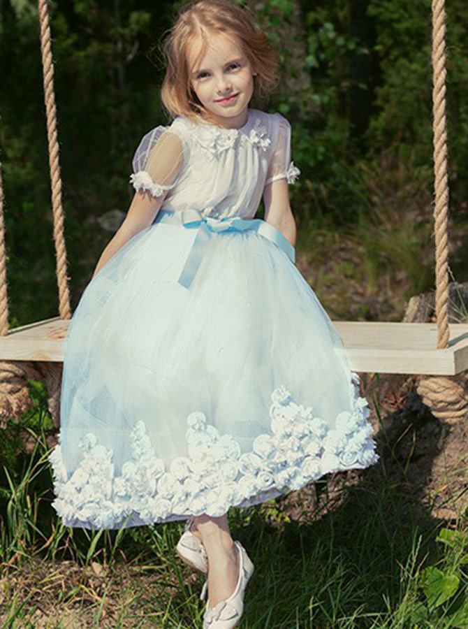 A-Line Jewel Blue Mid Calf Flower Girl Dress with Flowers Sash