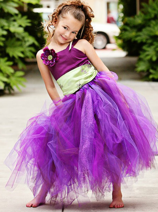 A-Line Square Neck Fuchsia Organza Flower Girl Dress with Flowers