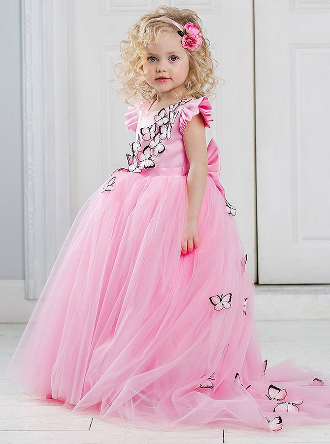 A-Line Round Neck Pink Tulle Flower Girl Dress with Appliques Bowknot