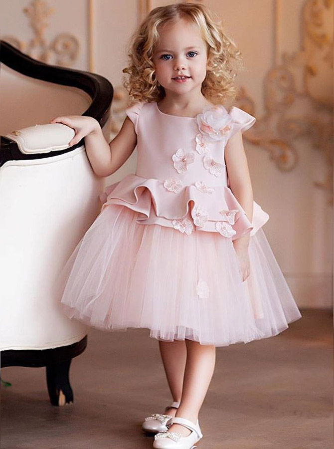 A-Line Round Neck Pink Tulle Flower Girl Dress with Flowers Ruffles