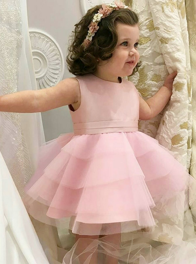 A-Line Round Neck Knee Length Tiered Pink Tulle Flower Girl Dress
