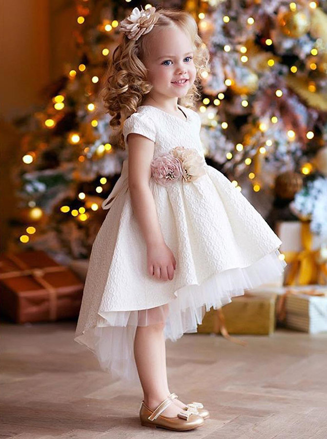 A-Line Round Neck High Low White Satin Flower Girl Dress with Flowers