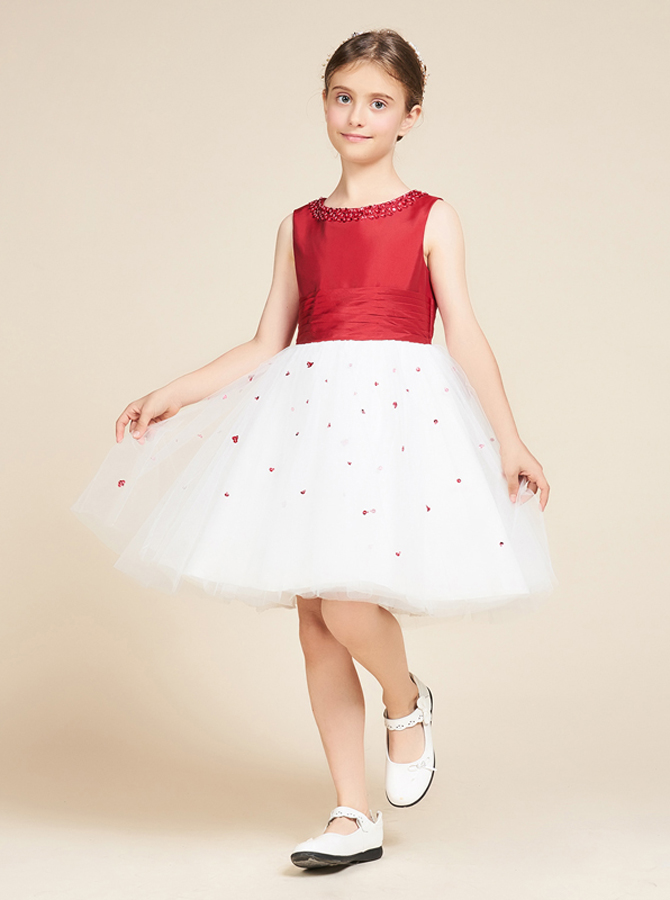 Simple-dress / A-Line Jewel White Flower Girl Dress with Sequins Bow