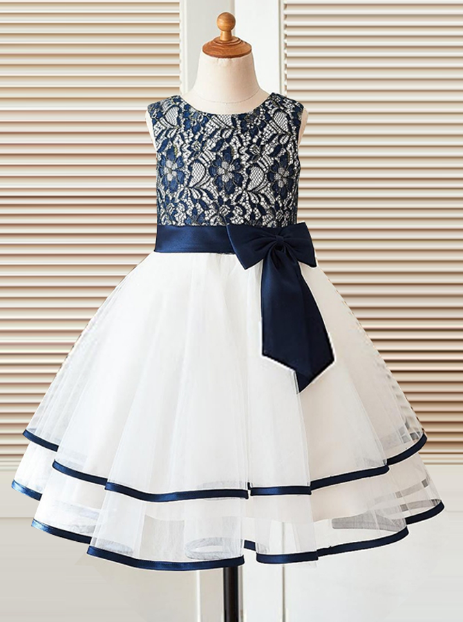 Simple-dress / A-Line Round Neck White Flower Girl Dress with Navy Blue Bow