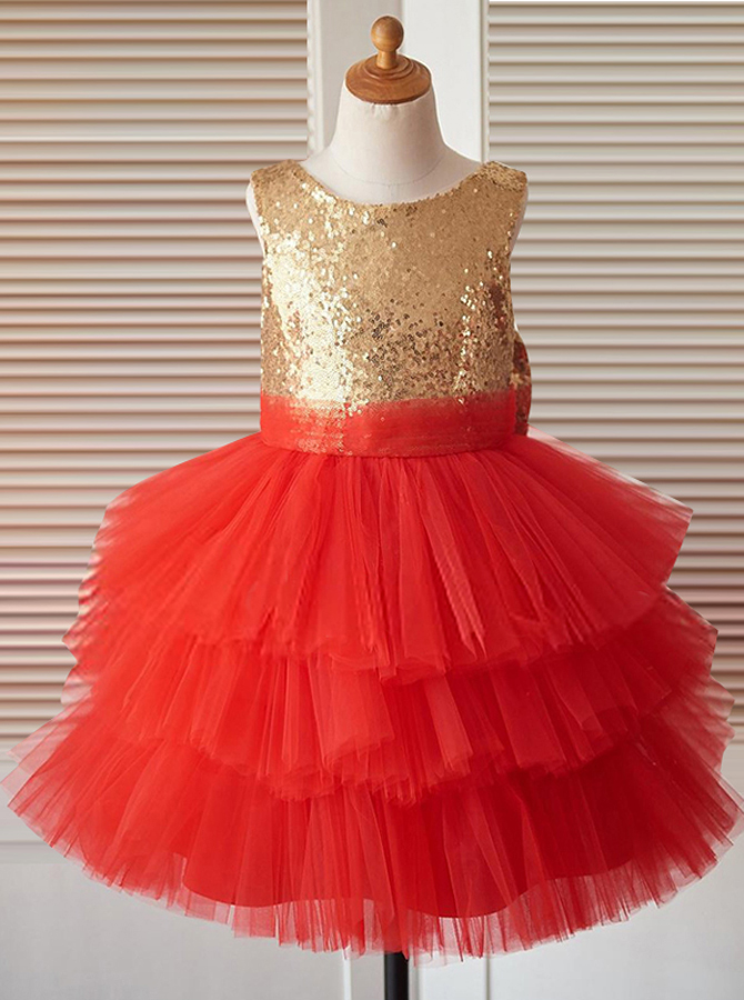 Ball Gown Jewel Red Tired Flower Girl Dress with Sequins Bow фото