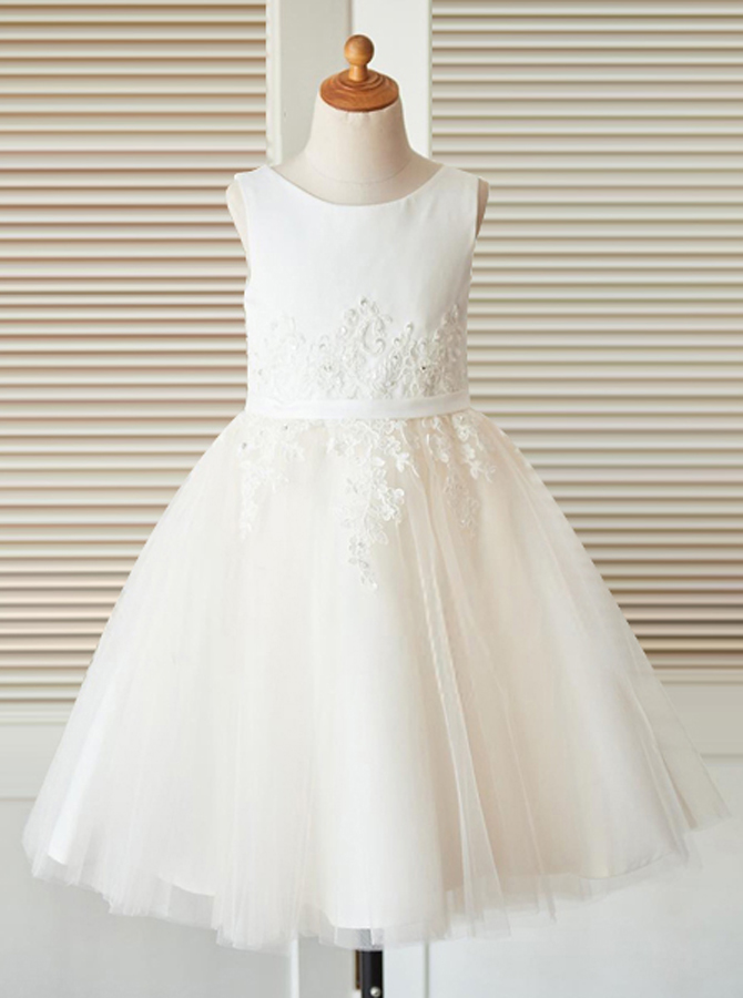 A-Line Jewel White Flower Girl Dress with Appliques, Ivory