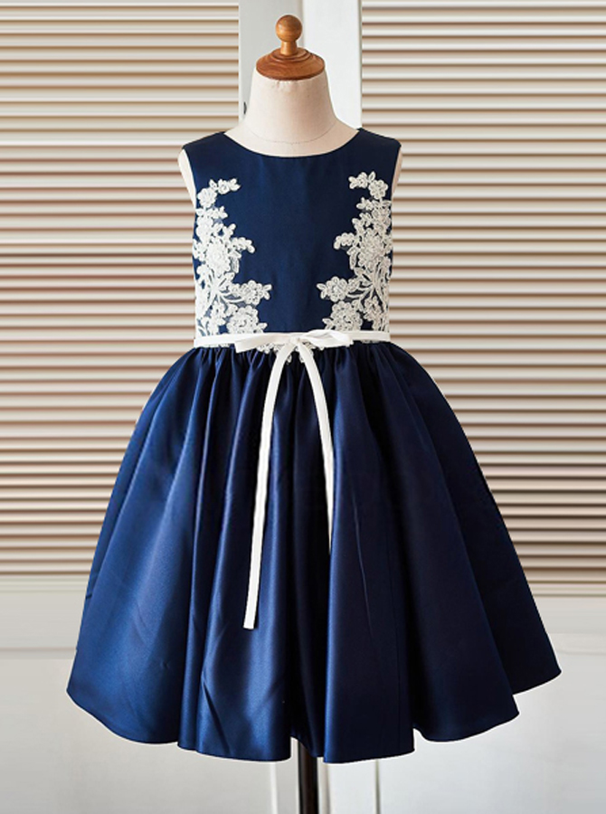A-Line Jewel Navy Blue Satin Flower Girl Dress with Appliques фото