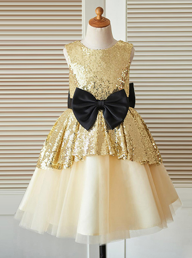Simple-dress / A-Line Jewel Champagne Flower Girl Dress with Sequins Bow