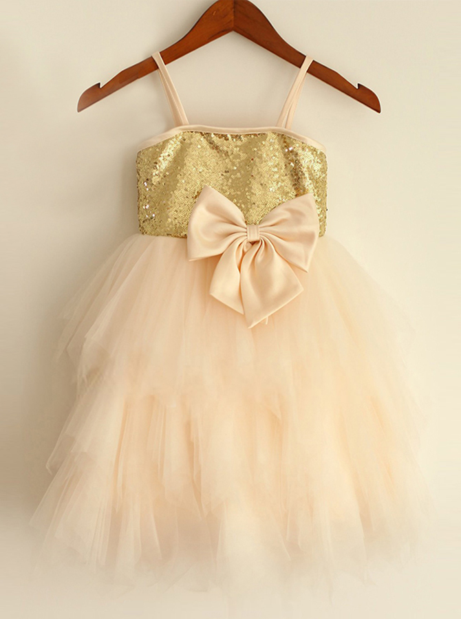 A-Line Spaghetti Straps Champagne Flower Girl Dress with Bow фото