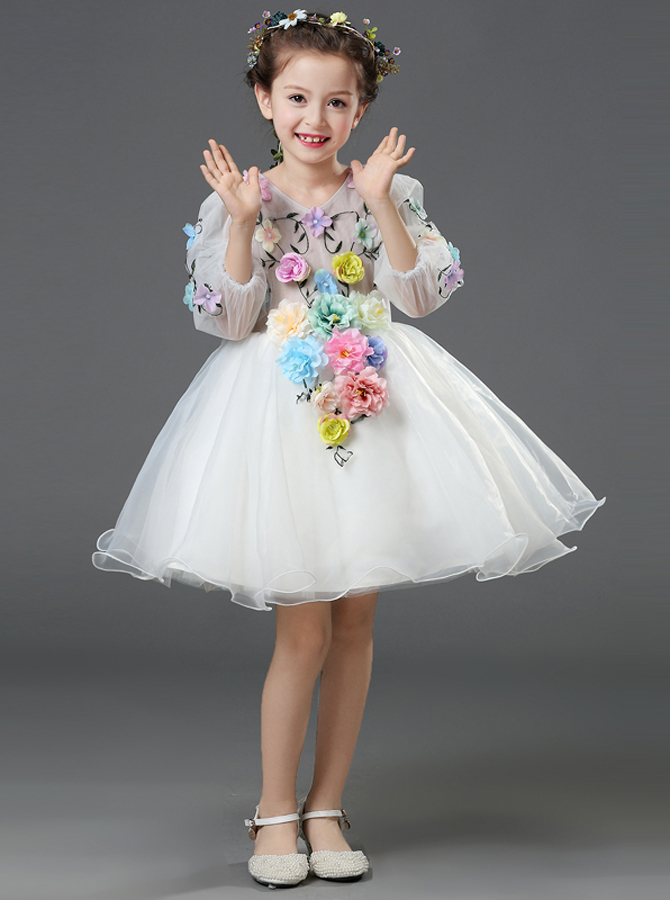 A-Line V-Neck 3/4 Sleeves White Flower Girl Dress with Flowers фото