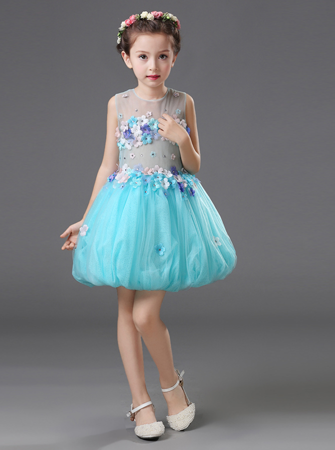Ball Gown Jewel Blue Flower Girl Dress with Flowers фото