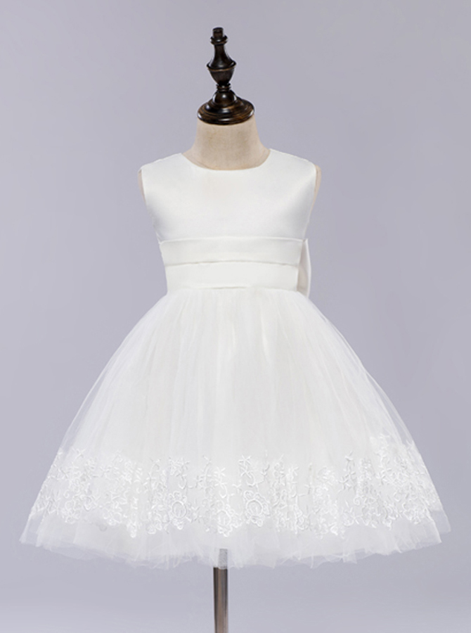 Simple-dress / A-Line Jewel White Flower Girl Dress with Appliques Bow